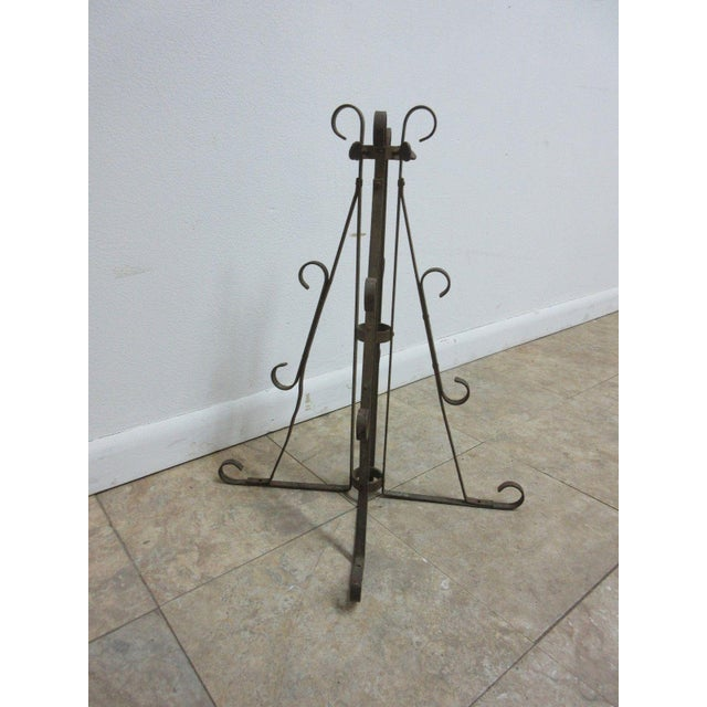 French Provincial Antique Wrought Iron Scroll Flag Pole Music Stand Ceremonial For Sale - Image 3 of 11
