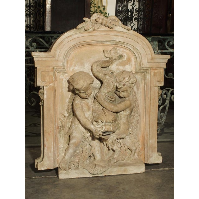 Ceramic Antique French Terra Cotta Fountain Back, Circa 1860 For Sale - Image 7 of 13