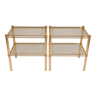 1970s Hollywood Regency 2-Tier Gilt Brass and Glass Side Tables - a Pair Mid Century Modern For Sale