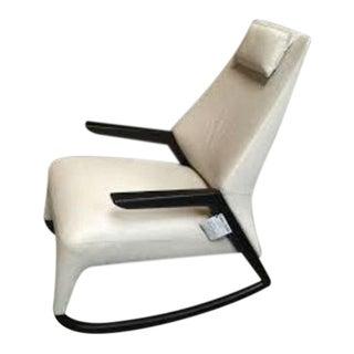 Contempo Italia White Leather Rocking Chair For Sale