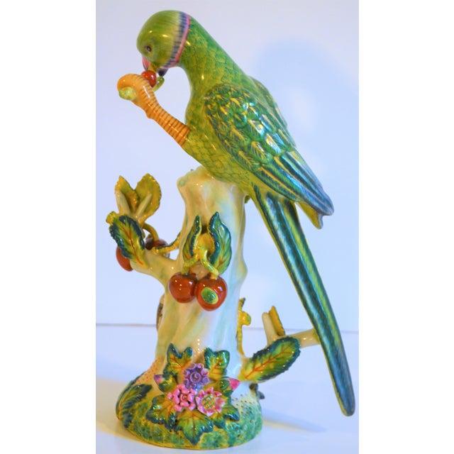 Wood (Final Markdown Taken) Vintage Green Majolica Parrot Figurine For Sale - Image 7 of 9