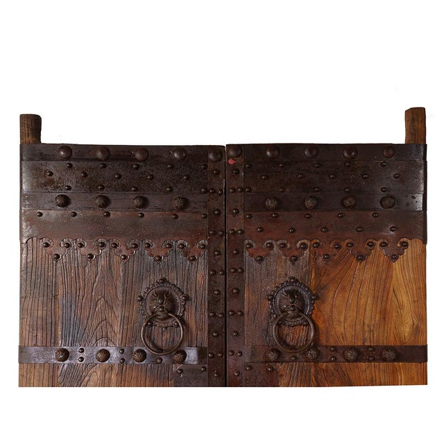 This is a pair of Chinese antique massive Court Yard Door panels. They were made of Elm wood, very heavy, solid and...
