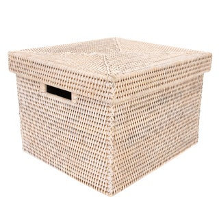 "Artifacts Rattan Storage Box With Lid 14""x12""x10"""