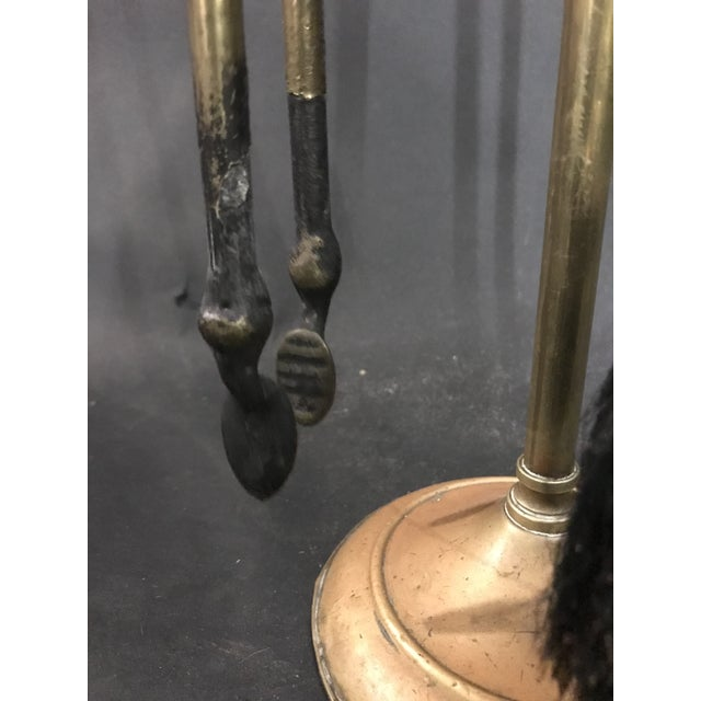 Metal 1950's Three Piece Set of Brass Over Cast Iron Fireplace Tools with Stand - 4 Pieces For Sale - Image 7 of 10