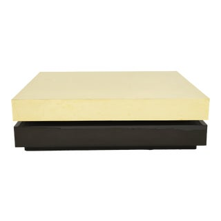 Coffee Table in Brass and Wood by Gabriella Crespi, Circa 1970 For Sale