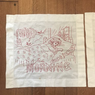 Vintage Hand-Embroidered Good Morning/Good Night Pillow Shams - Set of 2 Preview