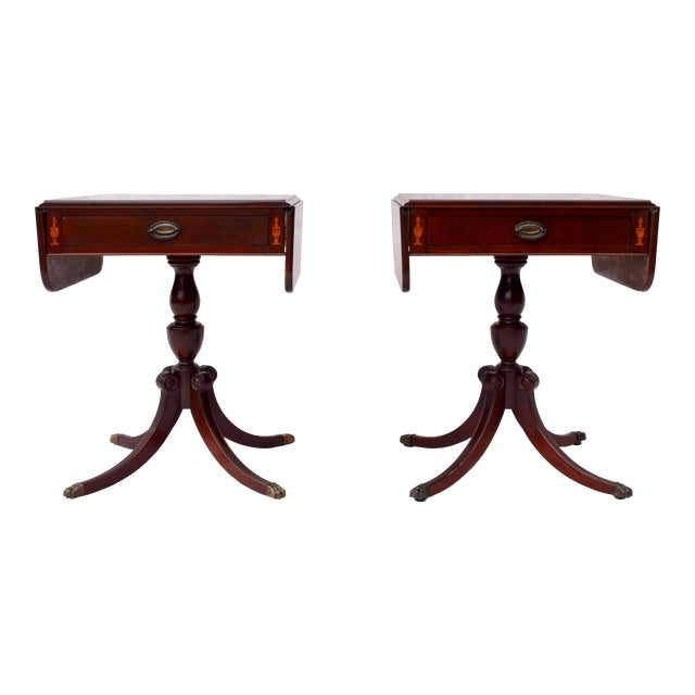 Mahogany Pembroke Tables With Inlay Detail, Pair For Sale