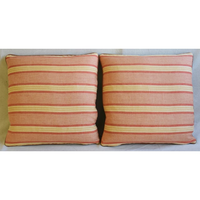 Pair of custom-tailored reversible designer Rogers & Goffigon lumbar accent pillows. Pillow fronts are a vintage/never...