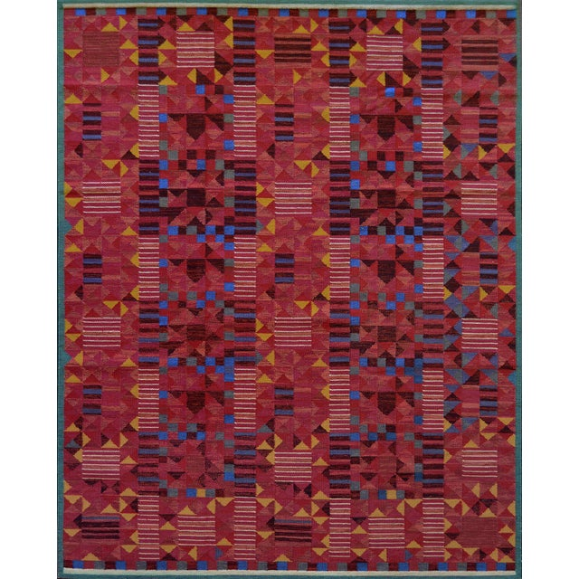 Textile Hand-Woven Swedish Style Wool Flat-Weave Rug For Sale - Image 7 of 7