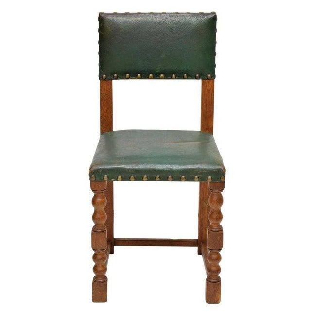 Renaissance Revival Vintage Mid Century Renaissance Revival Style Oak Side Chairs- Set of 5 For Sale - Image 3 of 5