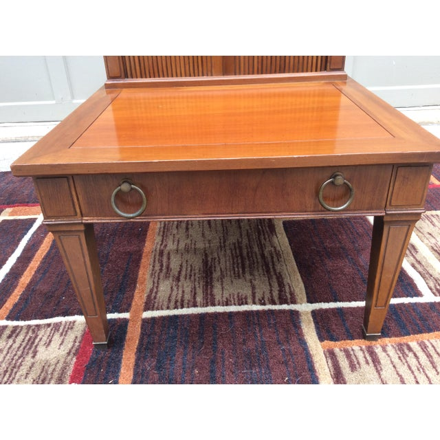 Mid Century side or end table by HEKMAN Solid wood, walnut I believe Modern Chippendale style Top has gorgeous tambour...