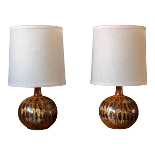 Mid-Century Drip Glazed Pottery Lamps - a Pair For Sale