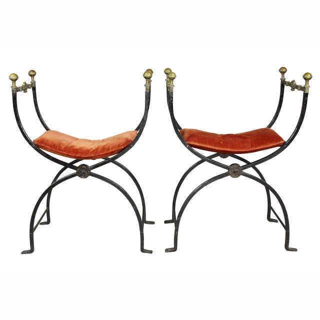 Mid 19th Century Italian Wrought Iron and Bronze Curule Chairs - a Pair For Sale - Image 5 of 11
