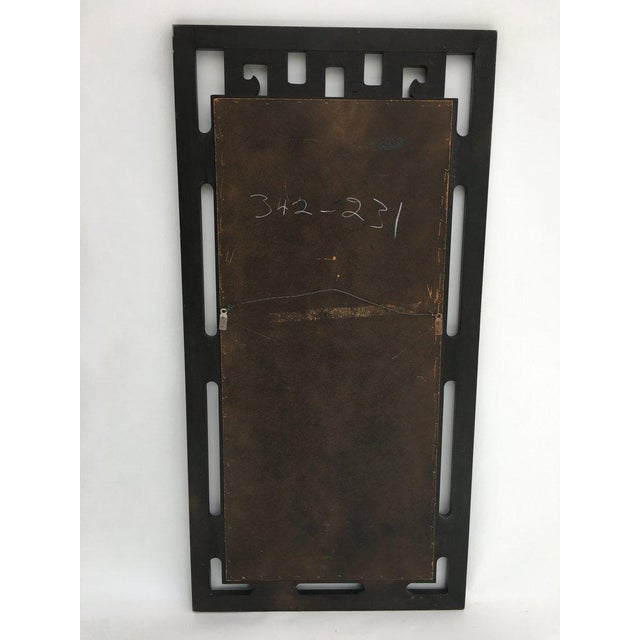 James Mont FInal Markdown Large James Mont Style Large Carved Greek Key Wood Mirror For Sale - Image 4 of 10