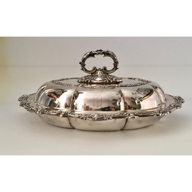 Antique Sheffield Silver Plate Scroll Borders & Armorial Crest Serving Dish With Cover For Sale - Image 12 of 12