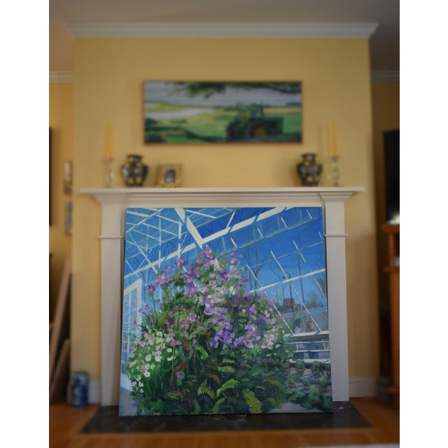 """""""Meet Me at the Greenhouse"""". Large (48"""" X 48"""") Contemporary Painting by Stephen Remick For Sale - Image 12 of 13"""