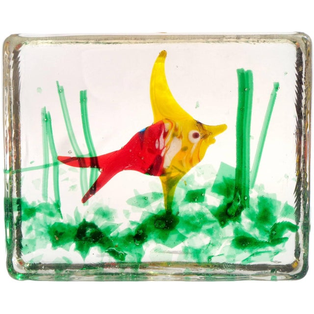 Mid 20th Century Murano Bright Red Yellow Fish Italian Art Glass Aquarium Paperweight Sculpture For Sale - Image 5 of 5