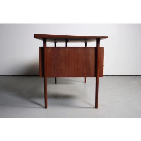 Danish Modern Peter Lovig Nielsen Danish Teak Floating Top Desk For Sale - Image 3 of 5
