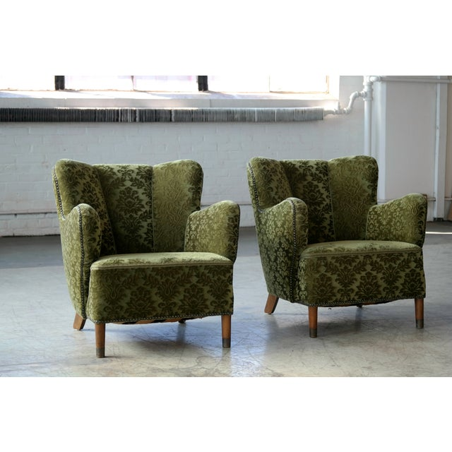 Art Deco Pair of Danish 1940s Fritz Hansen Model 1669 Style Lounge Chairs For Sale - Image 3 of 11