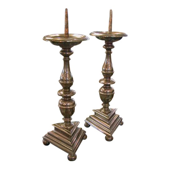 A Substantial Pair of French Baroque Style Bronze Pricket Sticks For Sale