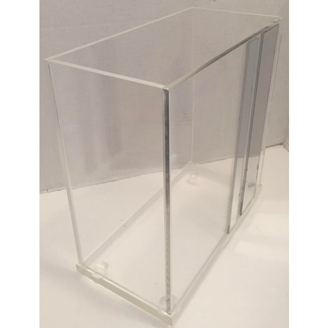 Lucite & Faux Mirror Paper Basket - Image 4 of 6