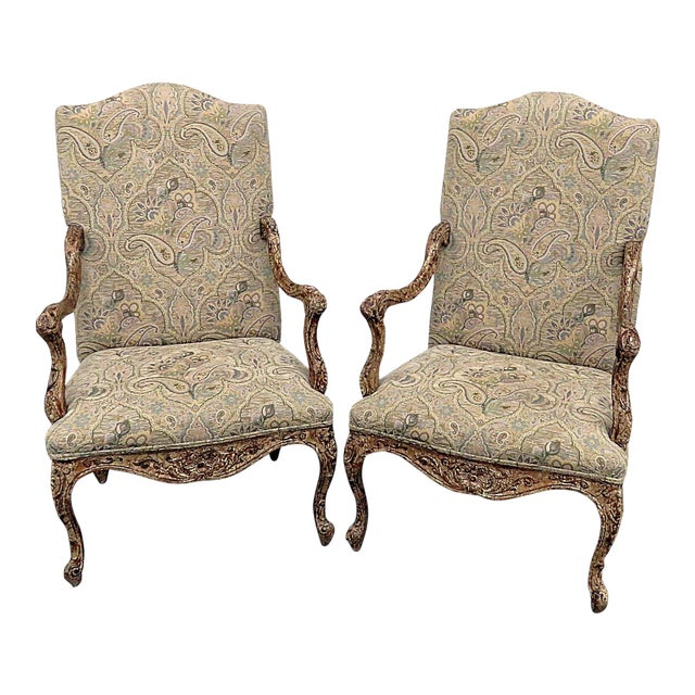 Louis XV Style Tapestry Armchairs - a Pair For Sale