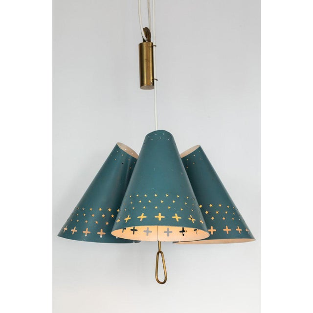 Brass 1950s Bent Karlby Counterweight Chandelier for Lyfa For Sale - Image 7 of 13