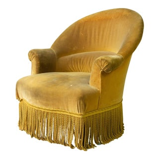 French Napoleon III Armchair in Gold Velvet