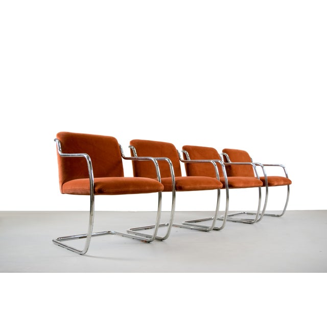 Brueton Chrome and Velvet Dining or Conference Chairs - Image 2 of 11