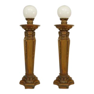 Pair of American Victorian Neo-classical style (19th/20th Cent) bronze 3 sided torchiere For Sale