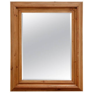 French Pine Rope Twist Beveled Mirror For Sale