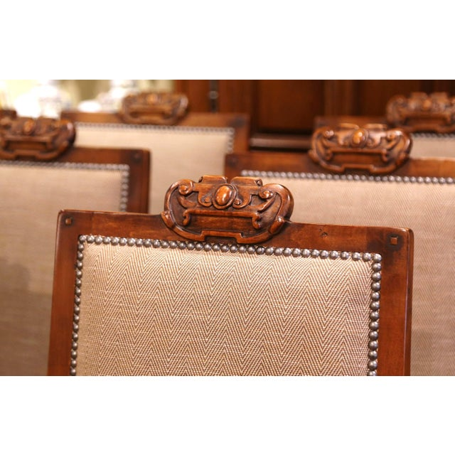 Wood Suite of Twelve Carved Walnut Chairs From Ralph Lauren With Chenille and Leather For Sale - Image 7 of 13