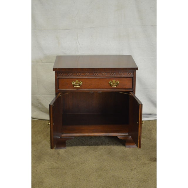 Baker Chippendale Style Mahogany Nightstand - Image 9 of 11