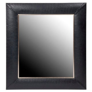 Nero Weave Leather Framed Mirror For Sale
