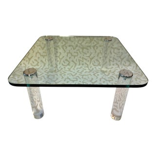 1970s Pace Collection Lucite + Glass Coffee Table For Sale