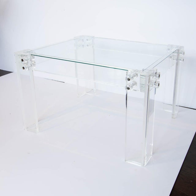 Green Lucite and Glass Coffee Table For Sale - Image 8 of 8