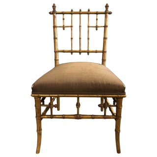 19th Century Victorian Style Faux-Bamboo Side Chair For Sale
