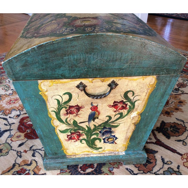 Dome-Top Hand-Painted Blanket Chest - Image 6 of 9