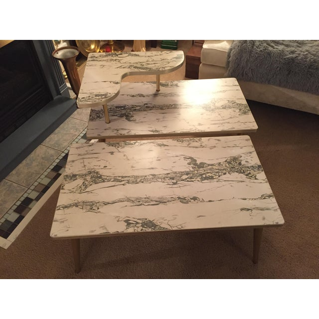 Mid-Century Formica Marble End Tables - A Pair - Image 3 of 10