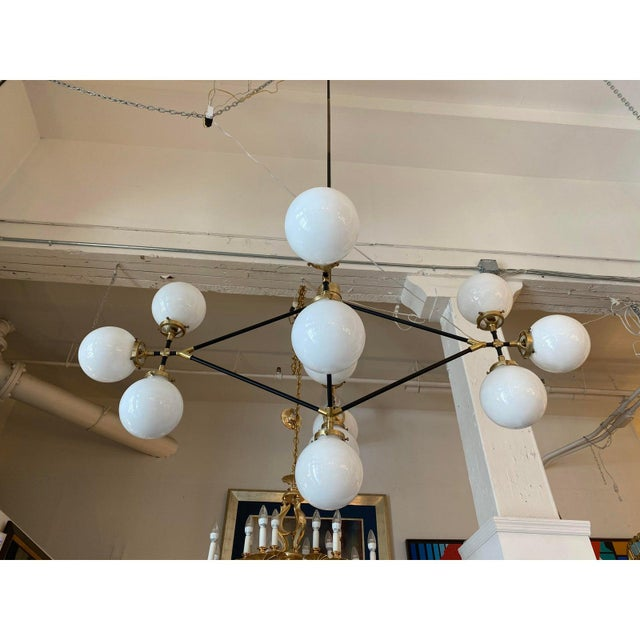 Modern Visual Comfort Ian K. Fowler Bistro Four Arm Chandelier For Sale - Image 3 of 11