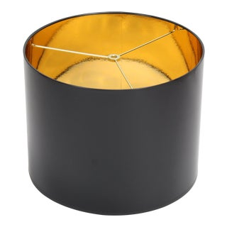 Drum Lamp Shade in Glossy Black Paper With Metallic Gold Inside For Sale