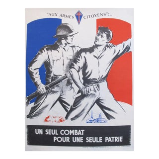 1940s Ww2 French Propaganda Poster, Aux Armes Citoyens, Patrie!
