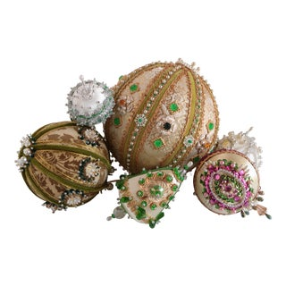 Beaded Brocade Christmas Ornaments - Set of 6 For Sale