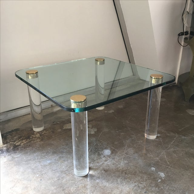 Mid Century Modern Pace Glass, Brass & Lucite Small Coffee / Cocktail Table or Occasional Table - Image 10 of 10