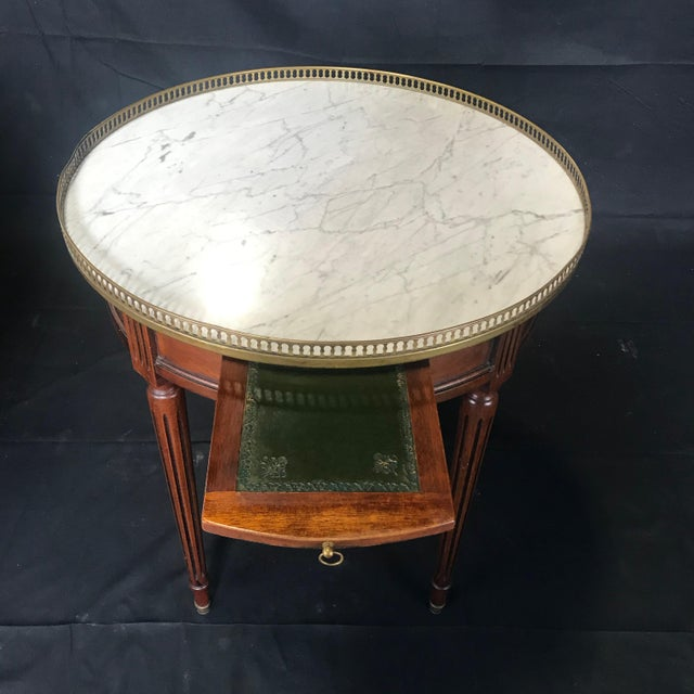 Metal French Louis XVI Style Marble Top and Walnut Bouillotte Side Table For Sale - Image 7 of 13