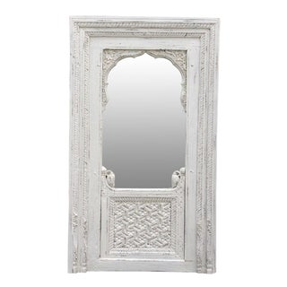Antique White Jarokha Carved Mirror For Sale