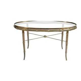 Art Deco Brass and Glass Top Coffee Table For Sale