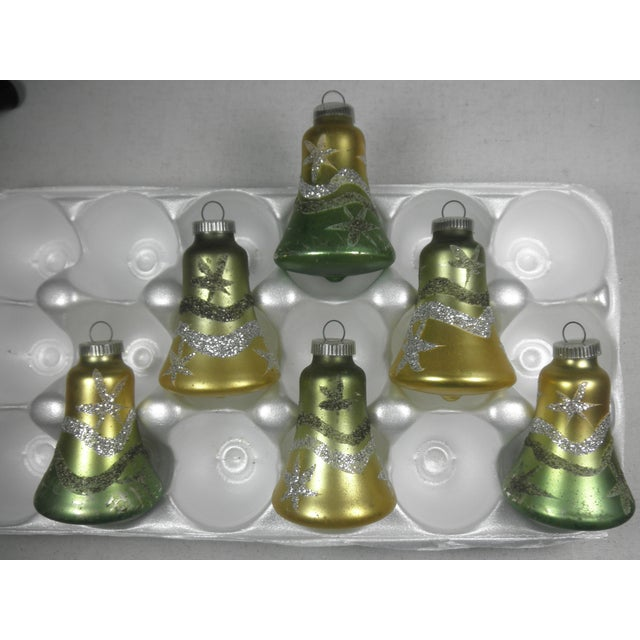 West German Glitter Bell Ornaments - Set of 6 - Image 2 of 3