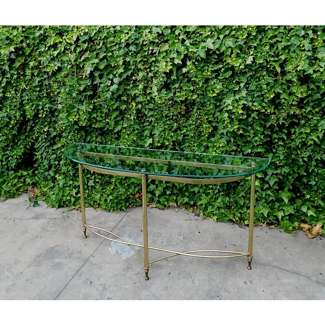 1970s Half Moon Glass and Brass Console Table For Sale In San Francisco - Image 6 of 6