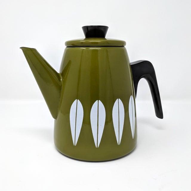 Mid-century Cathrineholm enameled metal coffee pot by Grete Prytz Kittelsen, made in Norway. Featuring Kittelsen's...